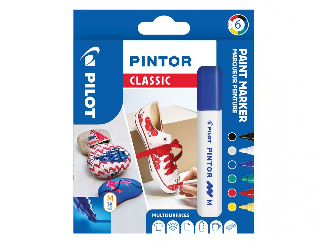 Pilot Pintor - Verpakking van 6 - Classic - Medium penpunt