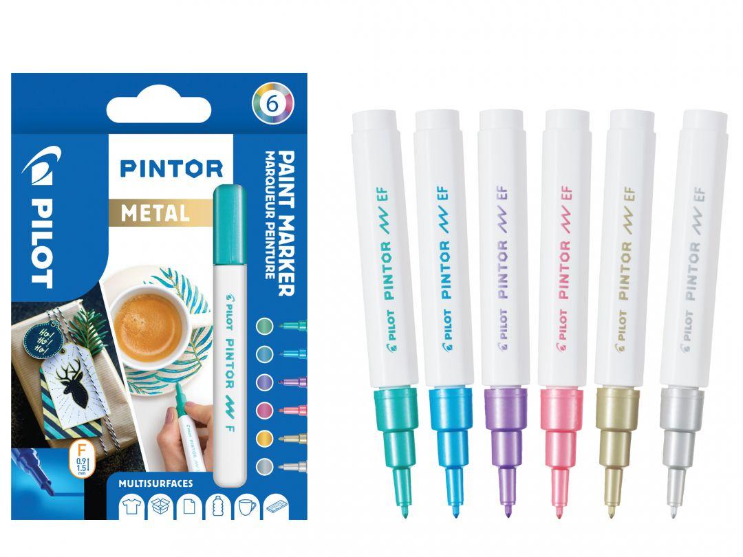 Pilot Pintor - Verpakking van 6 - Metal - Fijne penpunt