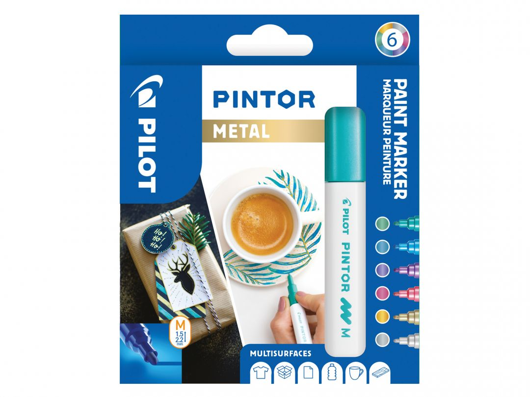 Pilot Pintor - Verpakking van 6 - Metal - Medium penpunt