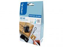Pilot Pintor - DIY KIT - Xmas geschenk label - Zilver, Goud, Wit en Metal Blauw - Fijne penpunt