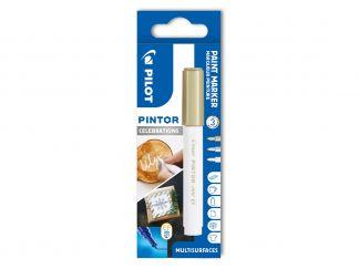 Pilot Pintor - Celebrations - Verpakking van 3 - Wit, Goud, Zilver - Extra fijne penpunt