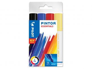 Pilot Pintor - Verpakking van 4 - Kleur assortiment - Medium penpunt