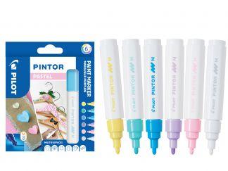 Pilot Pintor - Verpakking van 6 - Pastel - Medium penpunt