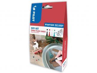 Pilot Pintor - DIY KIT - Xmas plaats kaartjes - Zwart, Rood, Wit, Metal Groen - Fijne penpunt
