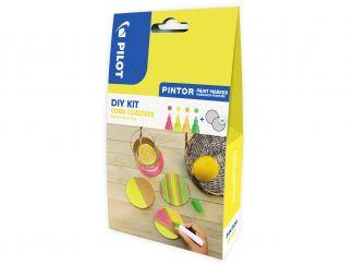 Pilot Pintor - DIY KIT - Kurken onderleggers - Neon Rood, Neon Geel, Neon Abricoos, Neon Groen - Medium penpunt