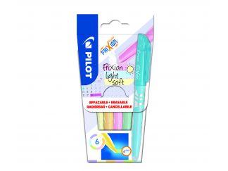 FriXion Light Soft - Verpakking van 6 - Pastel Violet, Pastel Geel, Pastel Oranje, Pastel Roze, Pastel Groen, Pastel Blauw - Medium penpunt