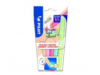 FriXion Light Natural Colors - Verpakking van 6 - Hemelsblauw, Lichtgroen, Grijs, Rood, Koraalroze, Lichtoranje - Medium penpunt